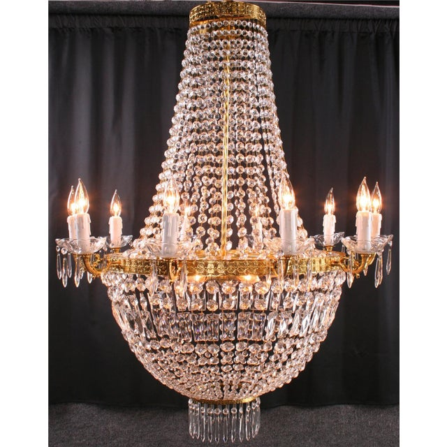 Italian Cut Glass Empire Napoleon Style Chandelier - Image 2 of 6