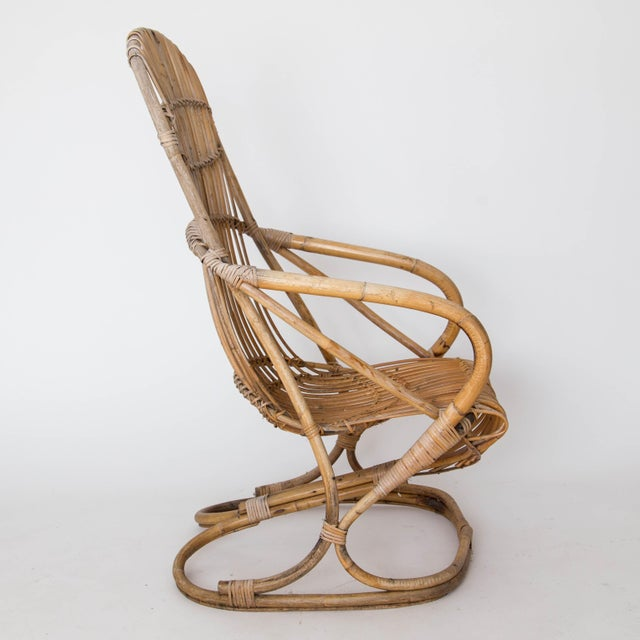 Franco Albini Rattan Lounge Chair & Ottoman - Image 3 of 11