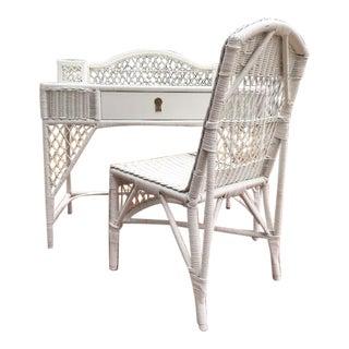 Vintage White Wicker Desk & Chair