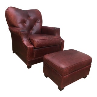Art Deco Style Vintage Leather Chair & Ottoman