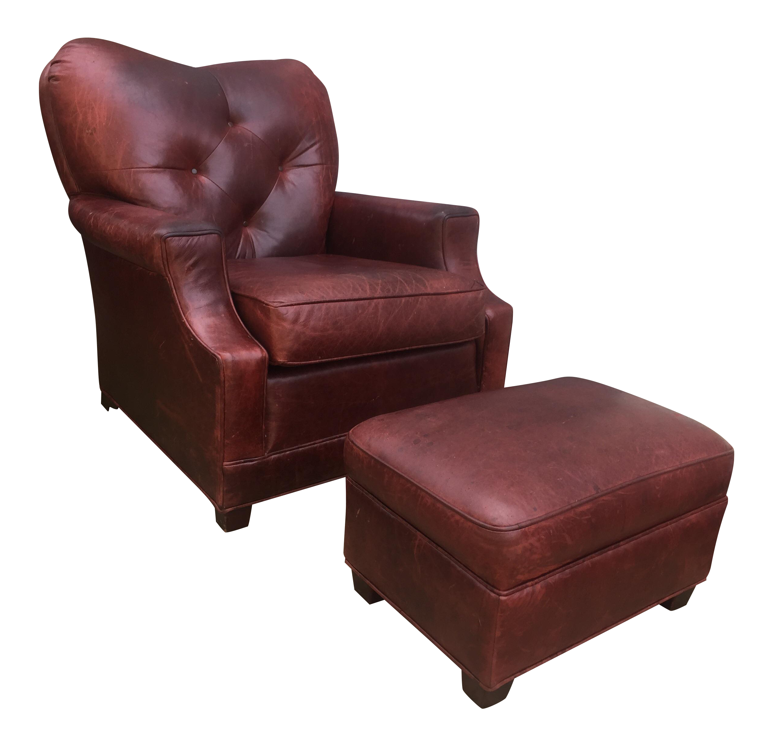 Great Art Deco Style Vintage Leather Chair U0026 Ottoman