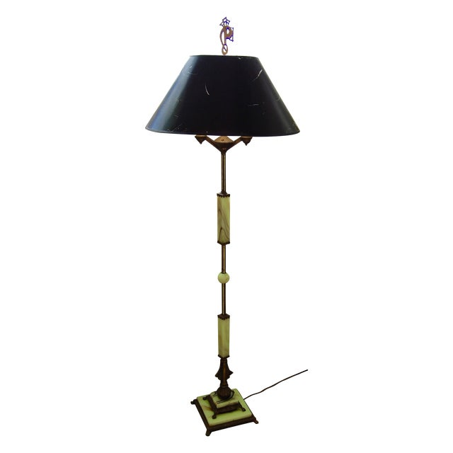1920s absinthe green marble floor lamp chairish for 1920s floor lamps