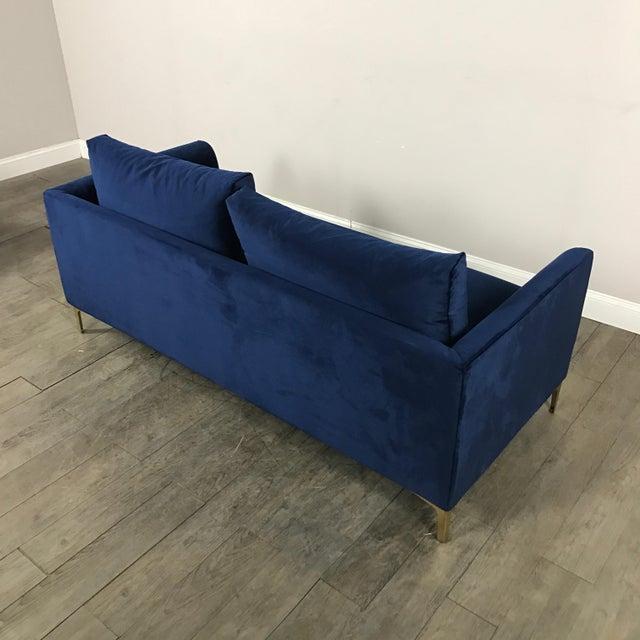 Modern Royal Velvet Navy Blue Sofa - Image 11 of 11