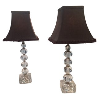 Crystal Ball Table Lamps - a Pair