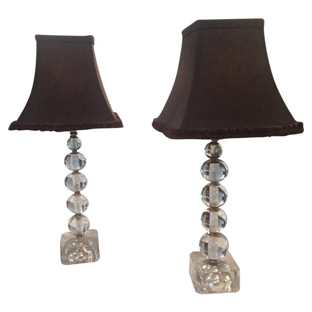 crystal ball table lamps a pair chairish. Black Bedroom Furniture Sets. Home Design Ideas