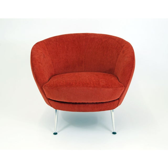 Brazilian Modern Mannes Curved Back Red Club Chair - Image 3 of 11
