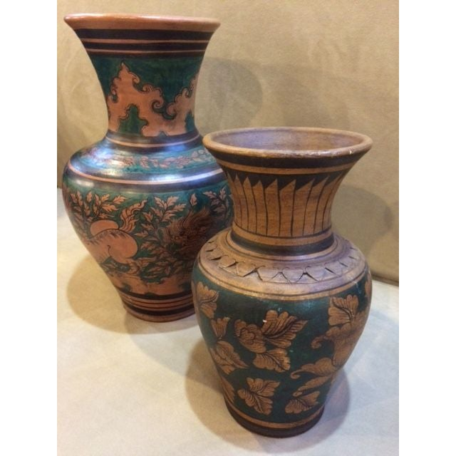 Mid-Century Urns with Deco Motif - A Pair - Image 2 of 6