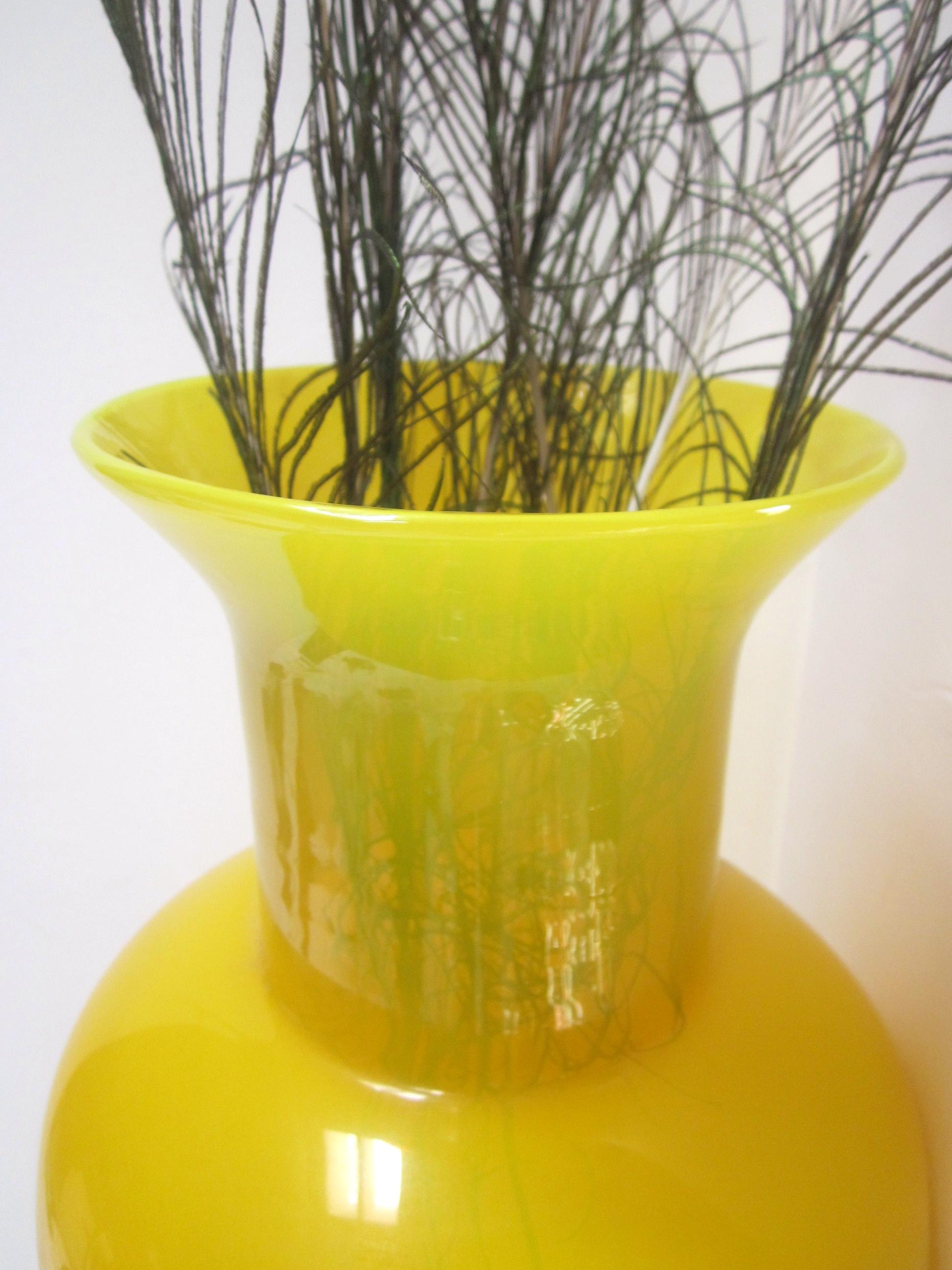 Blenko Style Yellow Blown Art Glass Floor Vase   Image 5 Of 11