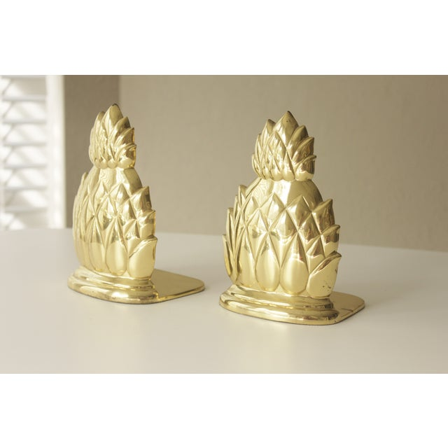 Large Brass Pineapple Bookends - Pair - Image 3 of 7