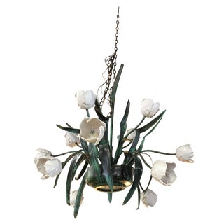 Vintage Enameled Copper Tulip Chandelier