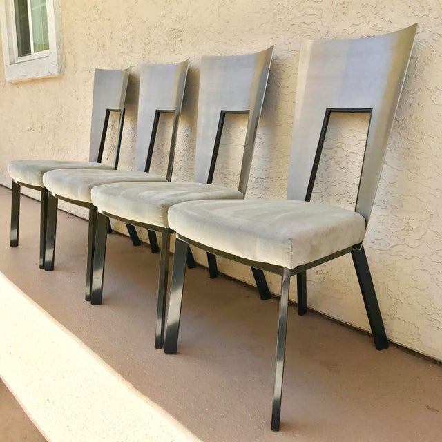Modern Curved Aluminum & Suede Dining Chairs - Set of 4 - Image 2 of 7