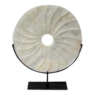 White Textured Disc Sculpture, China, Contemporary