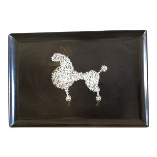 60s Black Poodle California Couro Abalone Tray