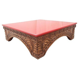 Tibetan-Inspired Carved Coffee Table