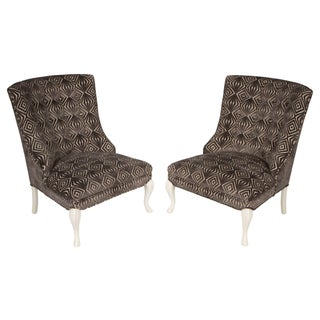 Grey & White Midcentury Slipper Chairs - A Pair