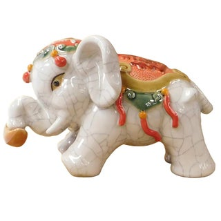 Chinese Crackle Off White Elephant Figure
