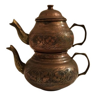 Turkish Cast Brass & Hand-Sponged Copper Tea Pots - A Pair