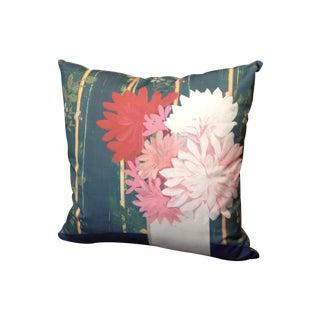 Square Blue Floral Pillow