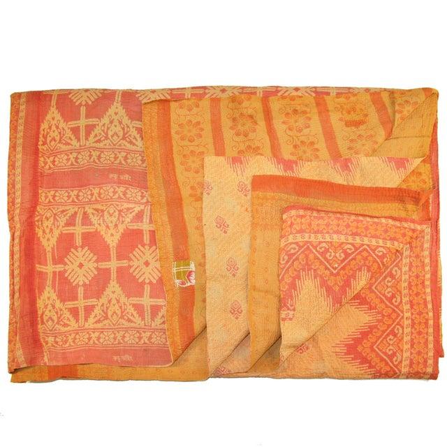 Vintage Orange Kantha Quilt - Image 1 of 2