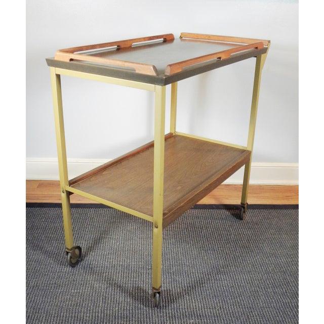 Mid-Century Wood Tray Bar Cart - Image 2 of 5