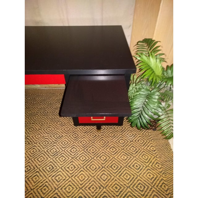 Mid-Century Black & Red Solid Wood Desk - Image 5 of 11
