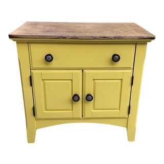Farmhouse Chic Yellow Wood Cabinet