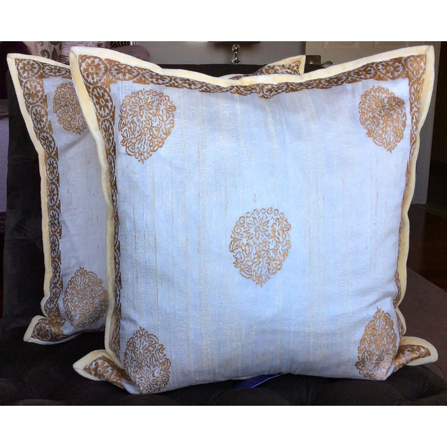 Ivory Silk Pillow Gold Hand Block Print - Pair - Image 2 of 5