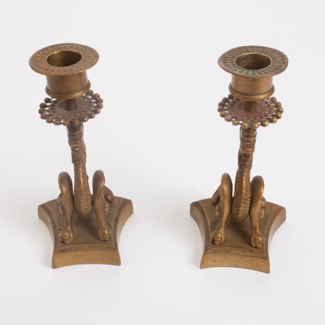 Image of Vintage Brass Dragon Candle Holders - A Pair