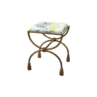 Hollywood Regency Gilt Rope & Tassel Stool