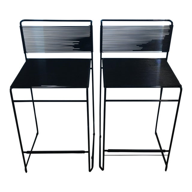 Giandomenico Belotti Black Fly Line Spaghetti Bar Stools- A Pair - Image 1 of 6