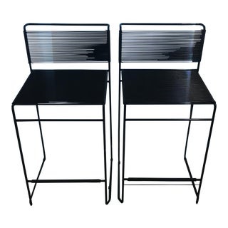 Giandomenico Belotti Black Fly Line Spaghetti Bar Stools- A Pair