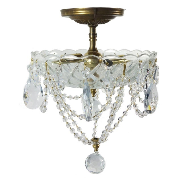 Brass & Draped Crystal Ceiling Fixture - Image 1 of 7