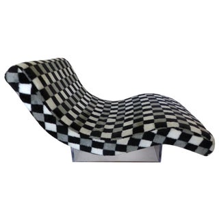Mid-Century Checkered Lucite Chaise Lounge