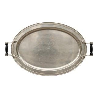 Vintage Metal Oval Tray W/ Black Wood Handles