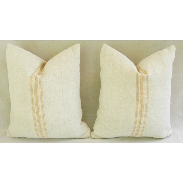 Image of French Gold Grain Sack Textile Pillows - Pair
