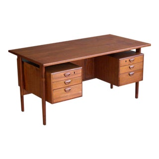 Executive Teak Desk Model FM 60 by Kai Kristiansen for Feldballes Møbelfabrik