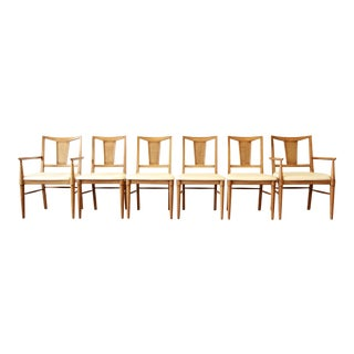 Henredon Mid-Century Modern Bleached Walnut Dining Chairs - Set of 6