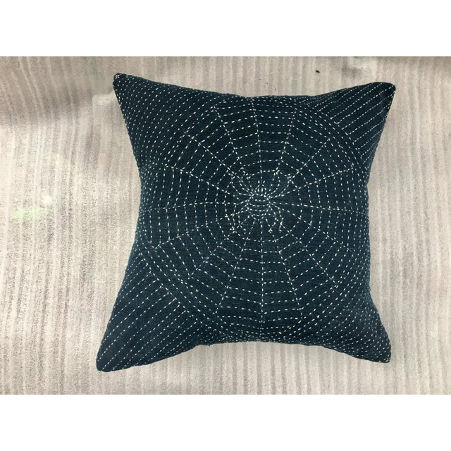 Antique Indigo Pillow with Hand Stitched Spider Web - Image 5 of 7