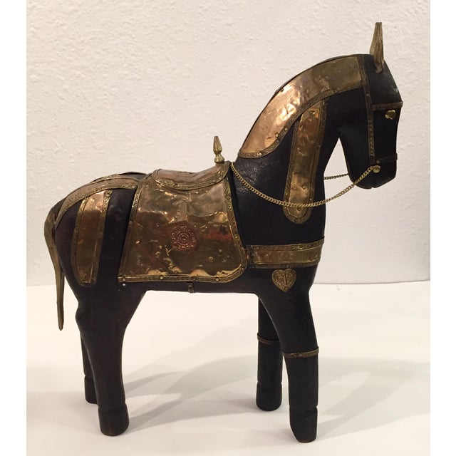 Asian Carved Wood & Brass Trojan Horse Set - Image 8 of 10