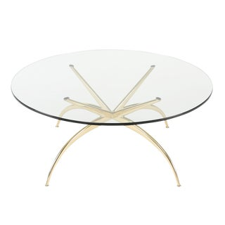ITALIAN BRASS COFFEE TABLE WITH ARCHED LEGS, CIRCA 1950S