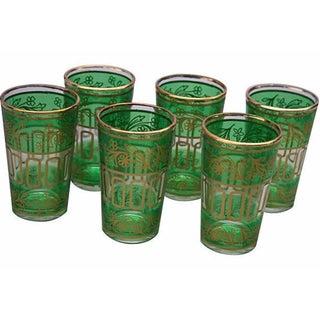 Moroccan Green & Gold Tea Glasses - Set of 6