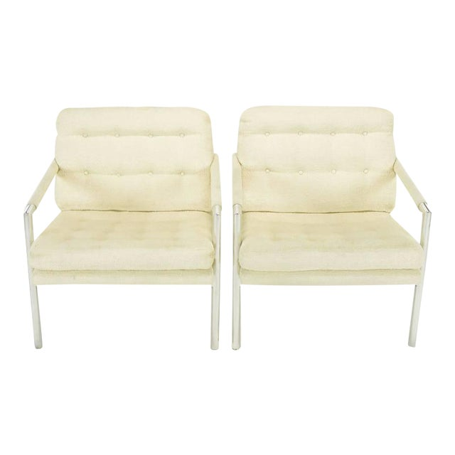 Pair of Polished Aluminum & Linen Lounge Chairs in the Manner of Harvey Probber - Image 1 of 9