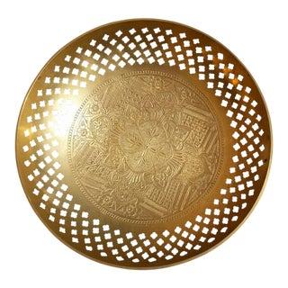 Vintage Engraved Pierced Brass Bowl