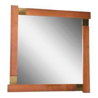 Large Italian Modern Walnut and Brass Mirror, Attributed to Giovanni Michelucci
