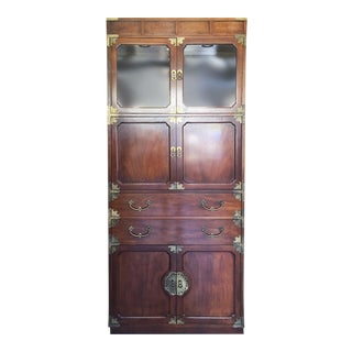 Henredon Etched Brass Chinoiserie Campaign Bookcase Cabinet