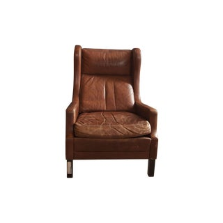 Mid-Century Wingback Leather Chair