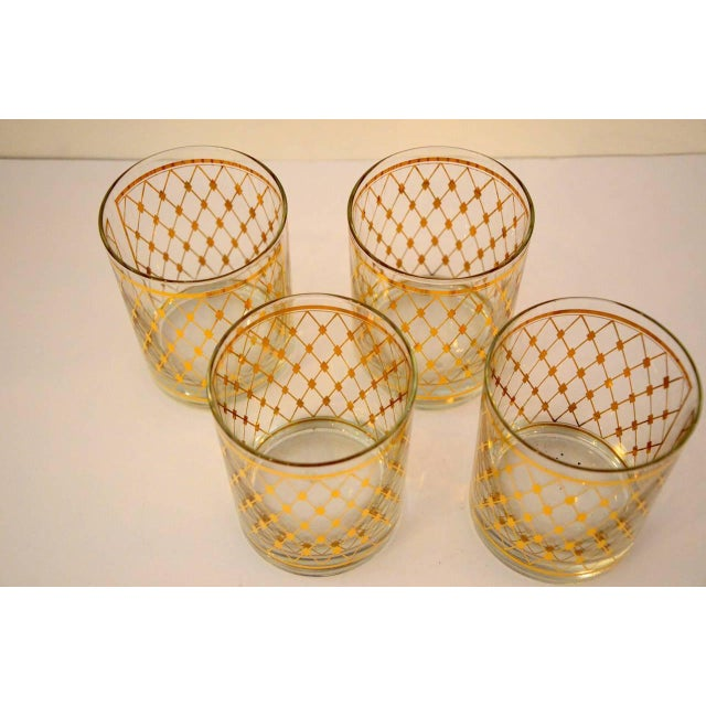 "Set of Four Georges Briard ""Harlequin"" Pattern Double Old Fashioned Glasses - Image 4 of 4"