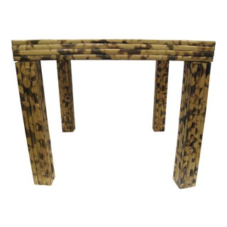 Vintage Burnt Bamboo Side Table