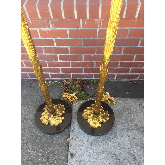 Image of Hollywood Regency Style Gilt Floor Lamps- A Pair