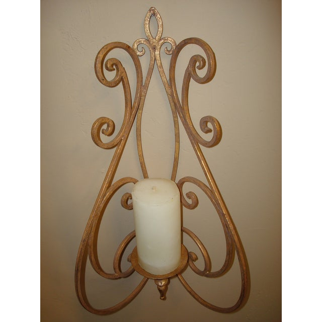 Antique Metal Gold Leaf Candle Sconce Chairish